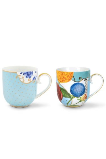 Royal Set/2 Mugs Small Blue/Flowers