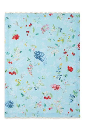 Floral Tea Towel Hummingbirds Blue