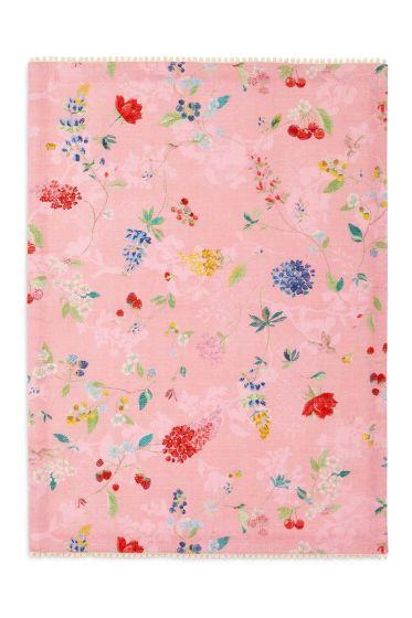 Floral Tea Towel Hummingbirds Pink