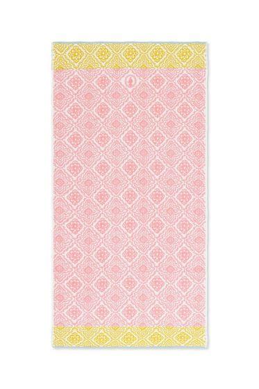 Douchelaken Jacquard Check roze 70 x 140 cm