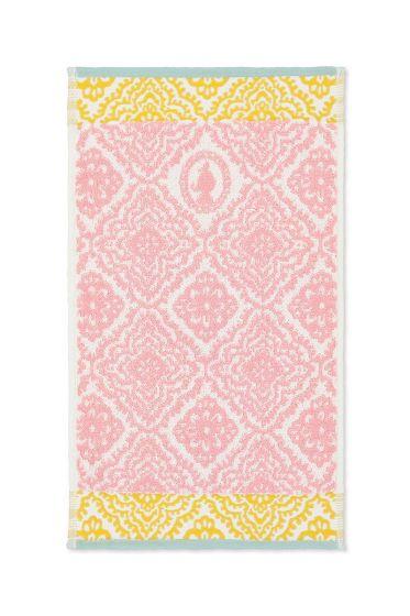 Gastendoek Jacquard Check roze 30x50 cm