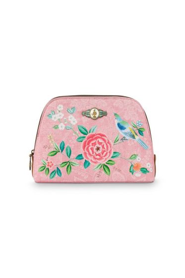 Cosmetic Bag Triangle Medium Floral Good Morning Pink