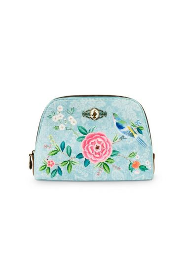 Cosmetic Bag Triangle Medium Floral Good Morning Blue