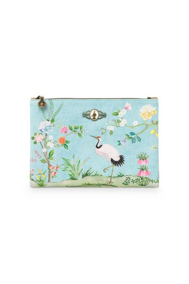 Cosmetic Flat Pouch Large Floral Good Morning Blue