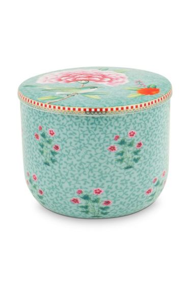 Cotton Ball Jar Floral Good Morning Blue