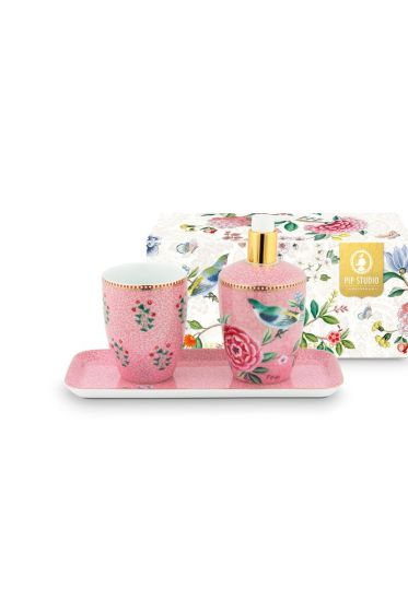 Bathroom Accessories Set Floral Good Morning Pink