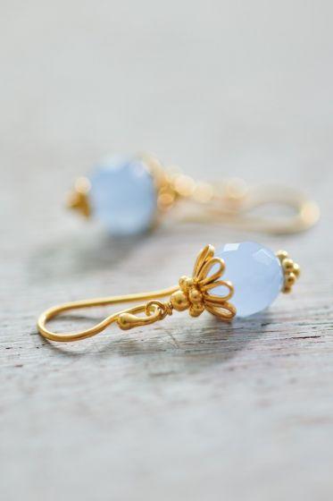Earrings goldplated Ballerina blue Chalcedony