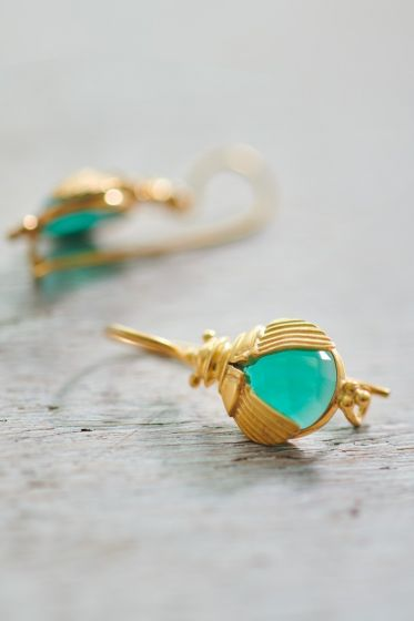 Earrings goldplated Beetle green Onyx