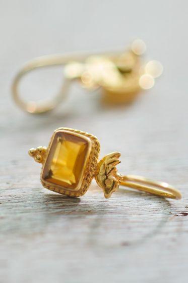 Earrings goldplated Pip's Bird yellow ochre Onyx