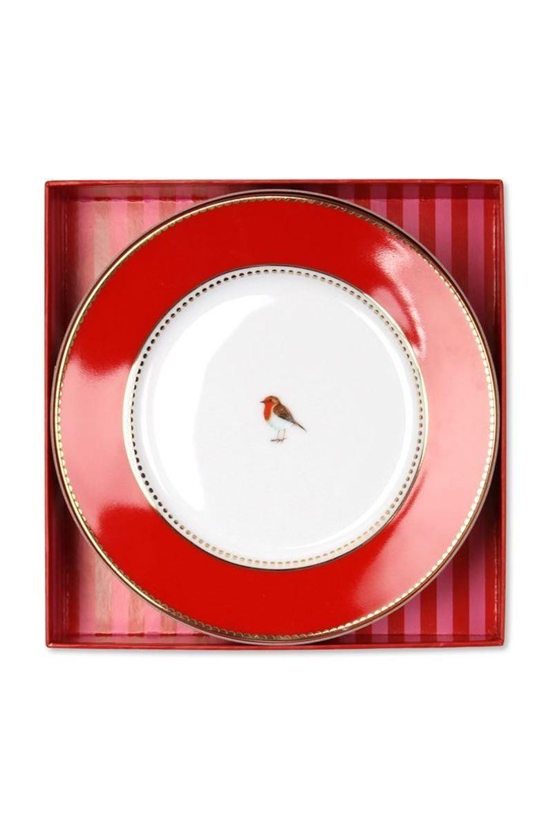 Lovebird Gift Set Cake Plate Pink Red