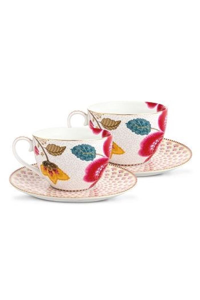 Floral Fantasy Set 2 Cups Saucers White Pip Studio The Official Website