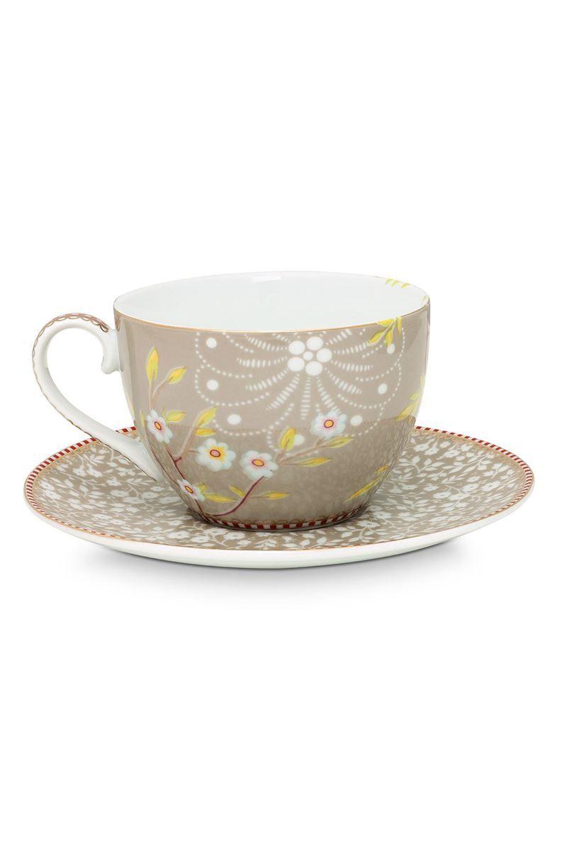 5f330c1c00c Floral Cappuccino Tasse und Untertasse Early Bird Khaki   Pip Studio ...