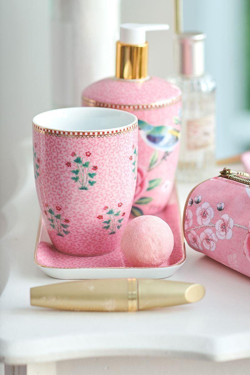 Set von Badezimmeraccessoires Floral Good Morning Rosa