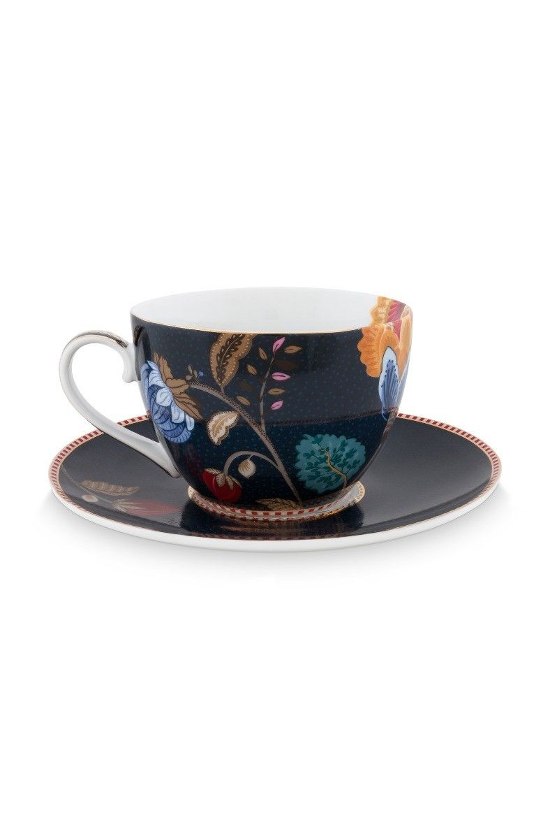 5a6288de896 Floral Fantasy Cappuccino-Tasse und Untertasse denim blau   Pip ...