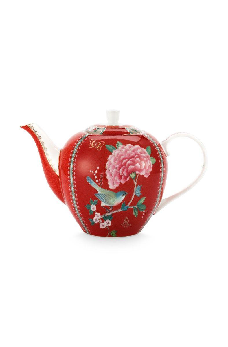 Blushing Birds Teapot Large Red Pip