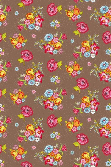 Bunch of Flowers wallpaper khaki
