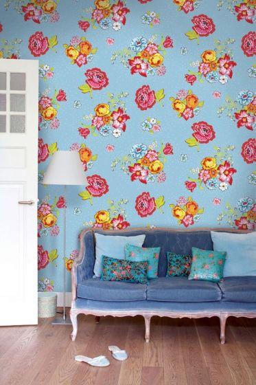 Bunch of Flowers wallpaper blue - Blauw