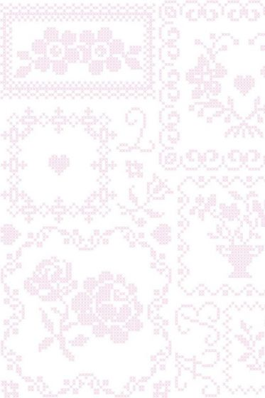 Cross Stitch behang roze wit