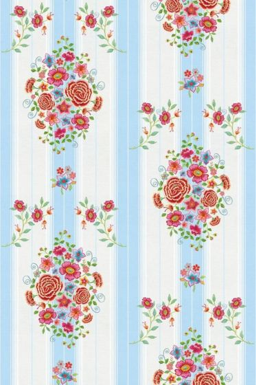 Embroidery wallpower blauw