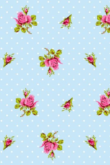 Roses and Dots wallpaper blue