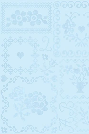 Cross Stitch wallpaper white blue