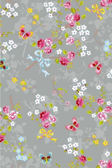 Chinese Rose wallpaper grey
