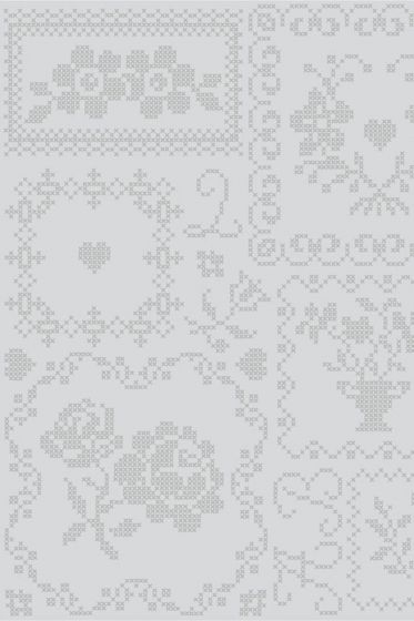 Cross Stitch wallpaper grey - grijs