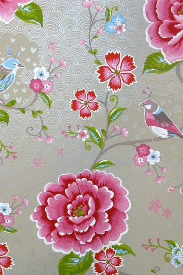 Birds in Paradise wallpaper khaki