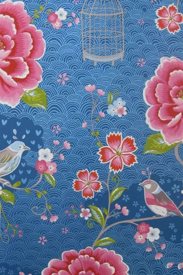 Birds in Paradise behang donkerblauw