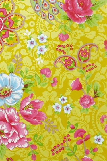 Pip Studio Flowers in the Mix wallpaper yellow