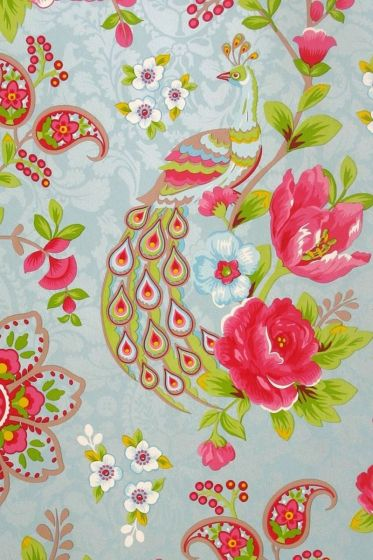 Pip Studio Flowers in the Mix wallpaper blue