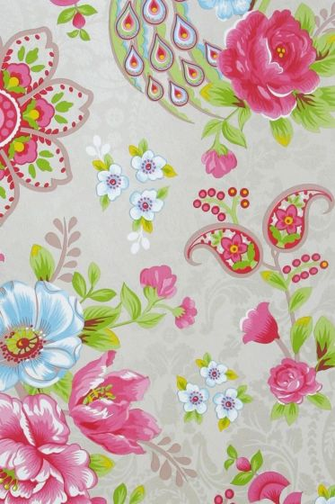 Flowers in the Mix wallpaper khaki
