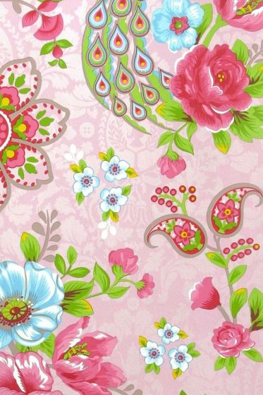 Flowers in the Mix wallpaper baby pink