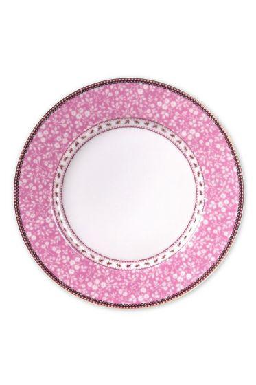 Floral dinner plate pink