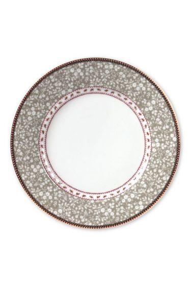Floral dinner plate khaki