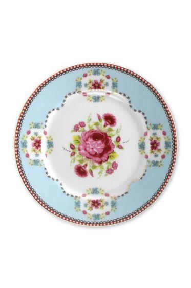 Floral cake plate blue