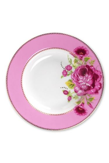 Floral soup plate pink