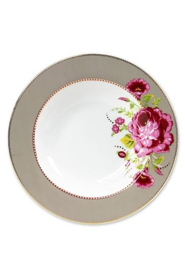 Floral pasta plate khaki