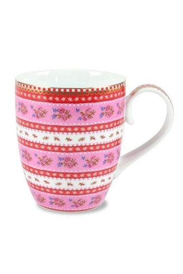 Big Floral Ribbon Rose mug pink