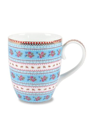 Big Floral Ribbon Rose mug blue