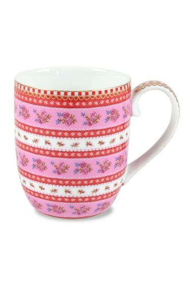 Small Floral Ribbon Rose mug pink