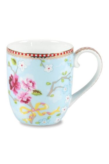 Small Floral Chinese Rose mug blue