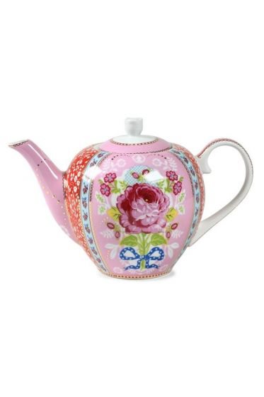 Floral theepot roze