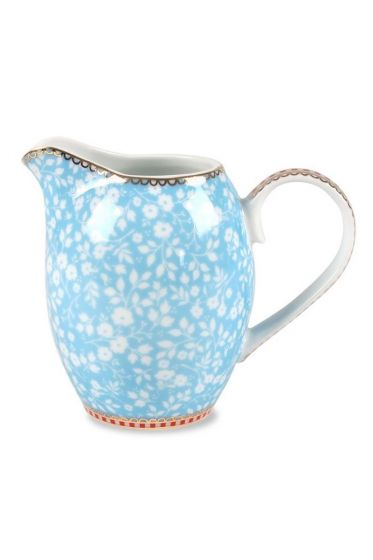 Floral cream jug blue