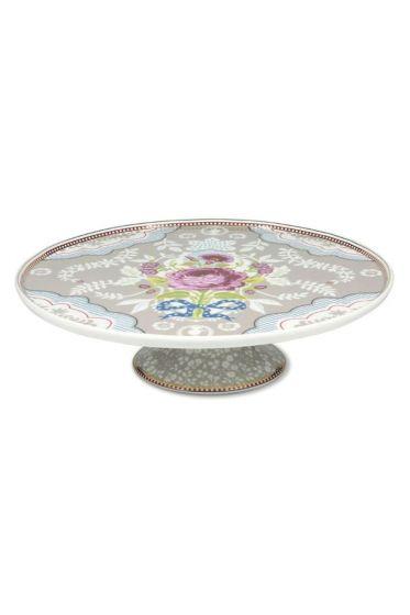 Floral taartschaal op voet khaki