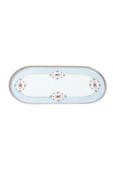 Floral oval platter blue