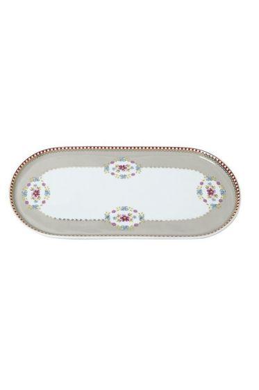 Floral oval platter khaki