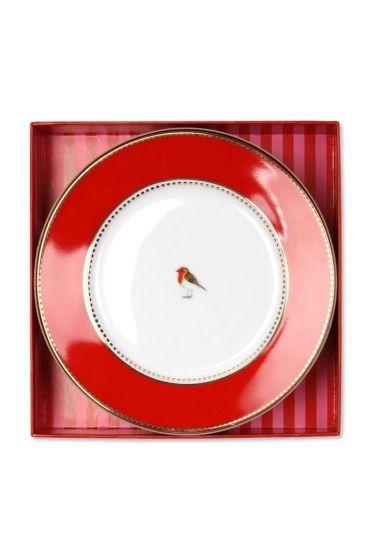 Lovebird cadeauset gebaksbordje roze/rood