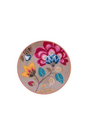 Floral Fantasy cake plate khaki