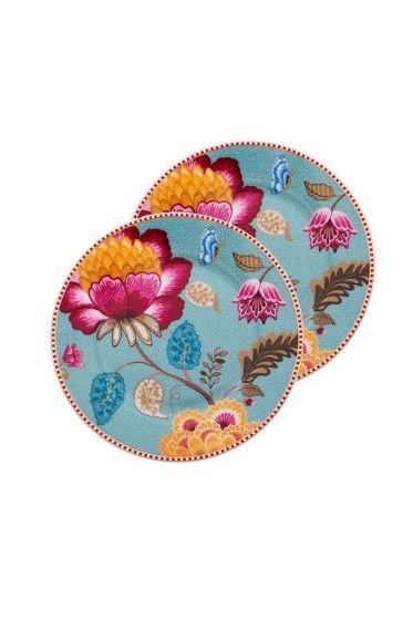 Floral Fantasy set of 2 cake plates blue